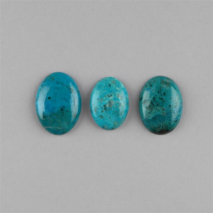 56cts Chrysocolla Multi Size Oval Cabochons Assortment. (3pcs)