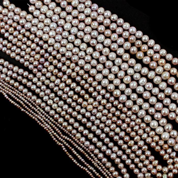 5m of Lavender Freshwater Cultured Potato Pearl. 1x1m Strand Approx 3-4mm, 2x1m Strand Approx 6-7mm, 2x1m Strand Approx 8-9mm