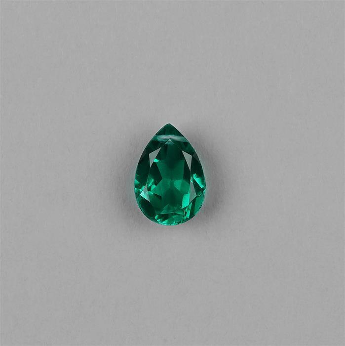 5cts Clear Quartz Emerald Colour Drilled Triplet Brilliant Cut Pear 14x10mm.
