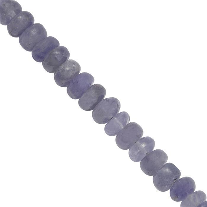 105cts Tanzanite Plain Rondelles Approx 4.5x2 to 5x3.5mm, 35cm Strand