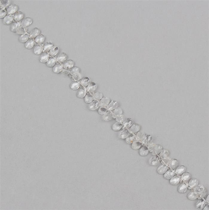 30cts White Topaz Graduated Faceted Pears Approx From 4x2 to 5x3mm, 18cm Strand.