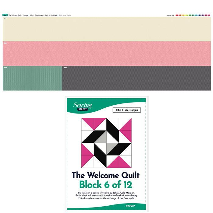 John Cole-Morgan's Block of the Week - Block 6. Vintage 'Welcome Quilt' Block Kit: Fabric Panel & Instructions
