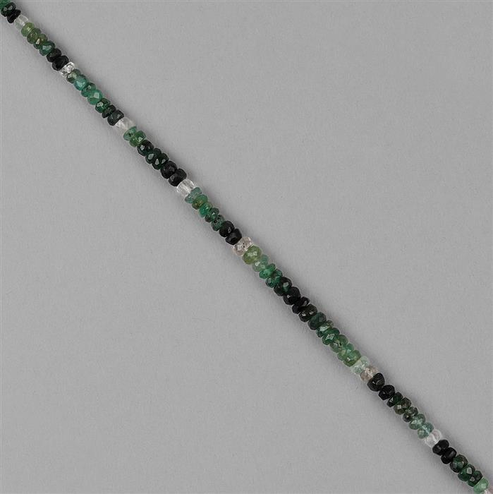 20cts Ombre Zambian Emerald Graduated Faceted Rondelles Approx 2x1 to 4x2mm, 20cm Strand.