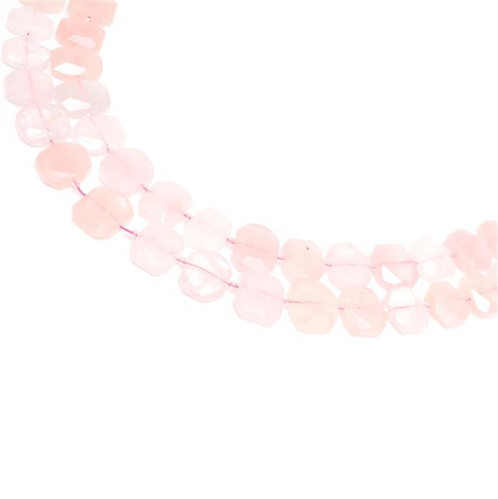 1200cts Total! Rose Quartz Faceted Slabs Approx from 18x23 to 21x25mm, 17pcs per strand