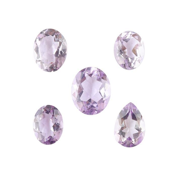 10cts Pink Amethyst Faceted Multi Shape Assortment.(Pack of 5)
