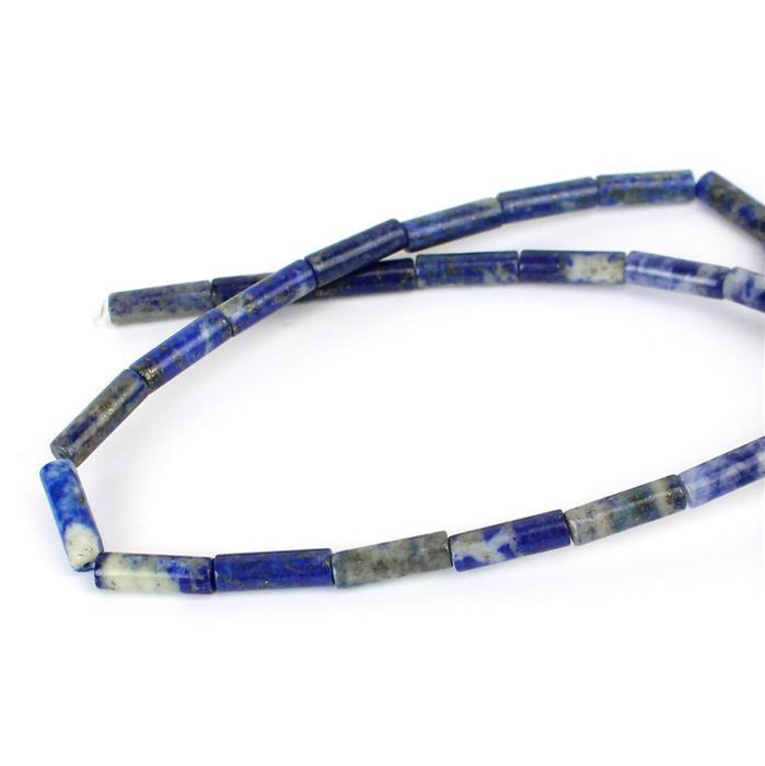 60cts Lapis Lazuli Tubes Approx 4x13mm, 38cm strand