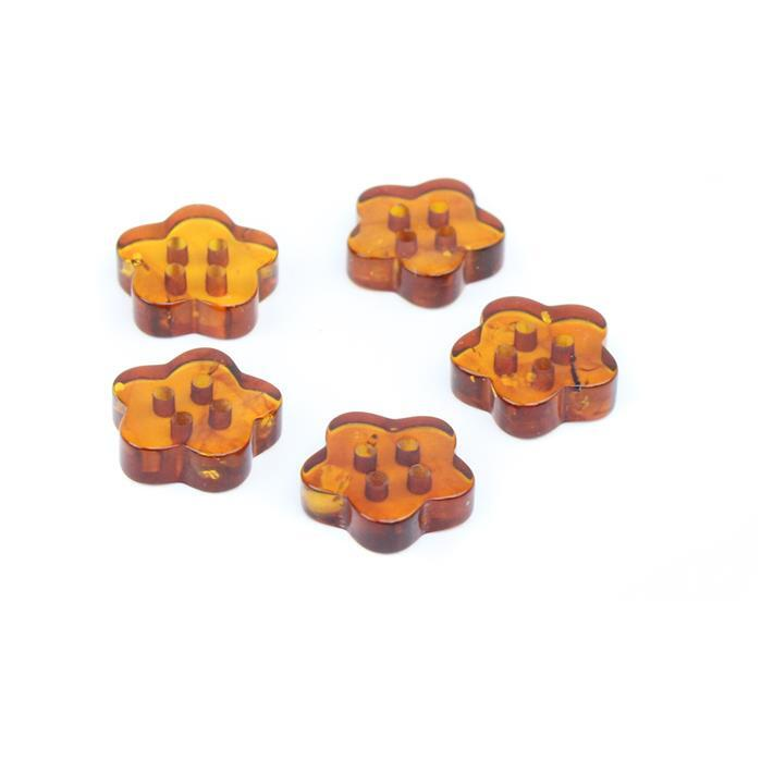 Baltic Cognac Amber Flower Buttons Approx 12mm (Pack of 5)