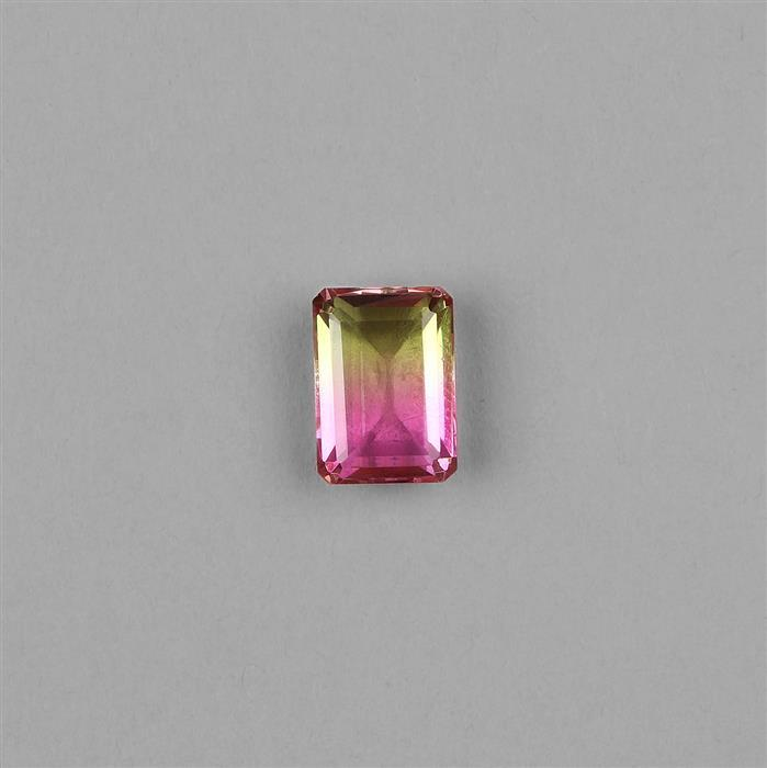 7cts Clear Quartz, Multi Colour Tourmaline Triplet Step Cut Octagon 14x10mm.