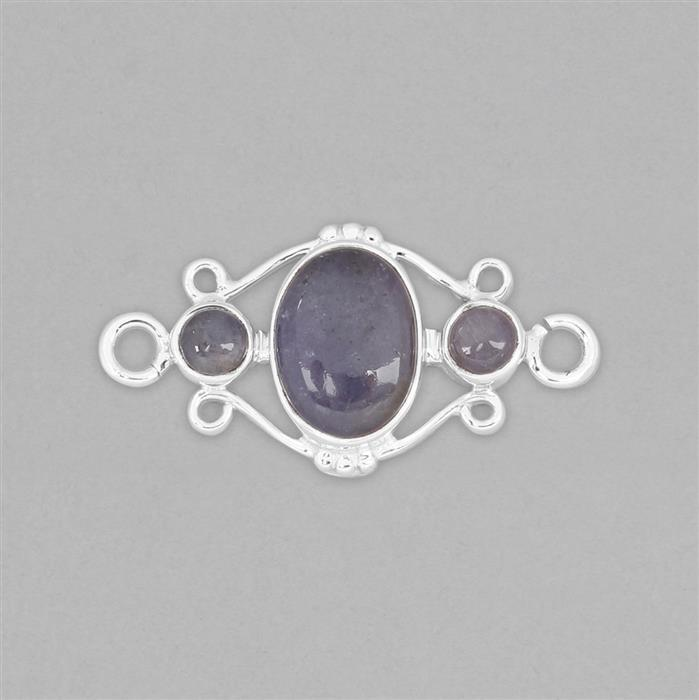 925 Sterling Silver Gemset Connector Approx 36x18mm Inc. 6cts Tanzanite Cabochons