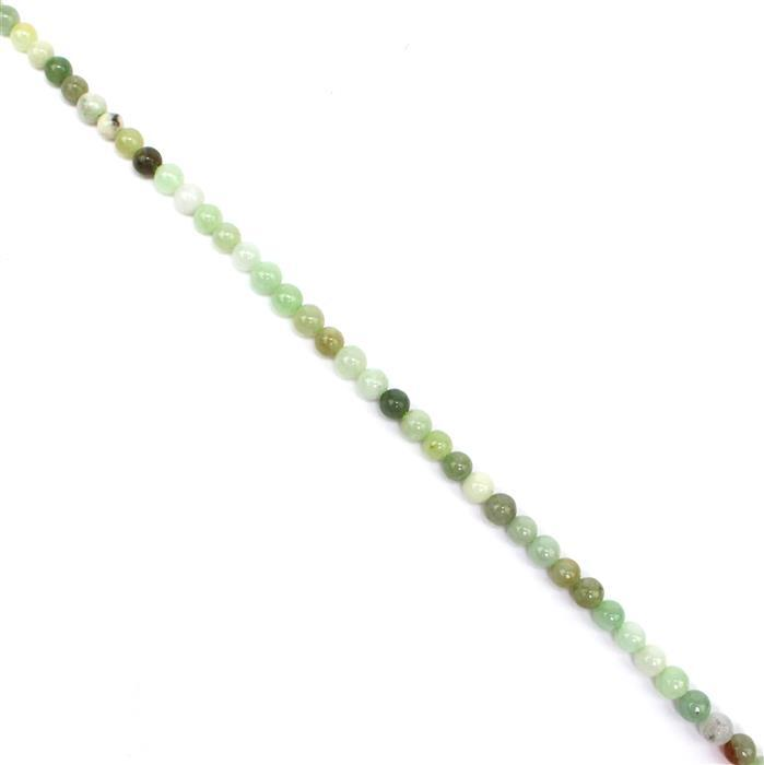 45cts Burmese Multi-Colour Jadeite Plain Rounds Approx 4mm, 38 cm strand