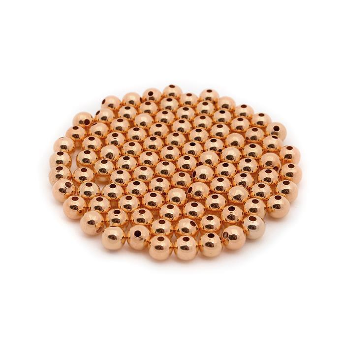 Rose Gold Plated Brass Round Beads - 6mm (100pcs/pk)