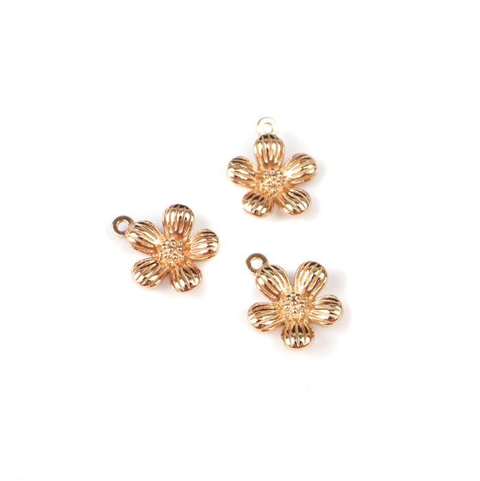 Rose Gold Plated 925 Sterling Silver Single Spring Flower Charms Approx 12x10mm 3pcs