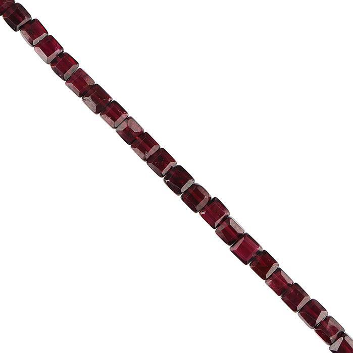 65cts Garnet Graduated Faceted Squares Approx 4 to 5mm, 30cm Strand.