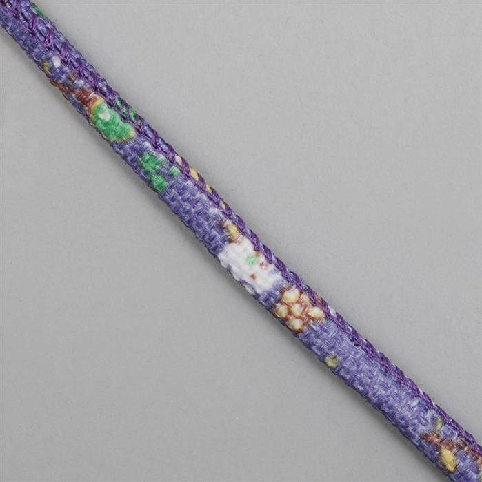 1m Purple Patterned Cotton Cord, Approx 6mm