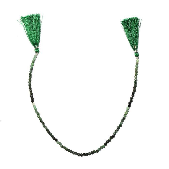 30cts Emerald Graduated Plain Rounds Approx 3 to 5mm, 28cm Strand.