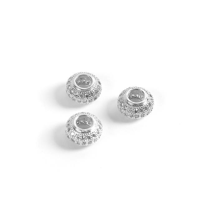 Silver Plated Base Metal CZ Donut Beads, 10mm (3pk)