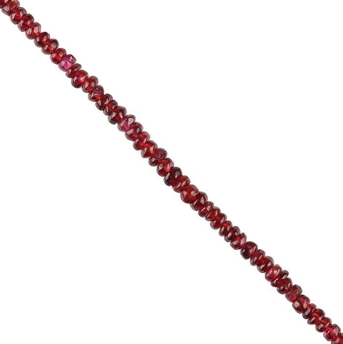 65cts Garnet Graduated Plain Rondelles Approx 3x2 to 4x3mm, 30cm Strand.