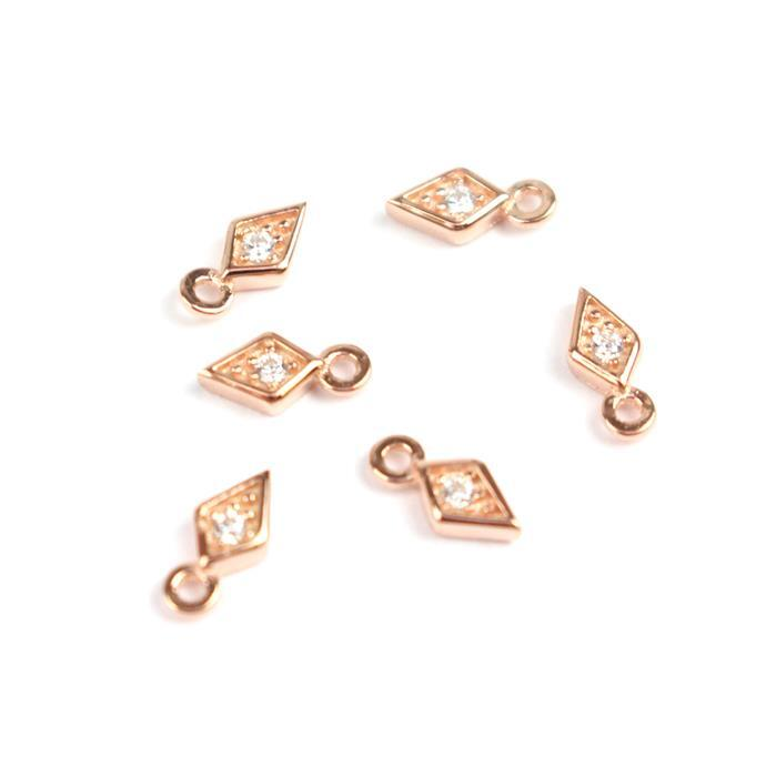 Rose Gold Plated 925 Sterling Silver Mini Rhombus With Cubic Zircon Charms Approx 7x3mm (6pcs)