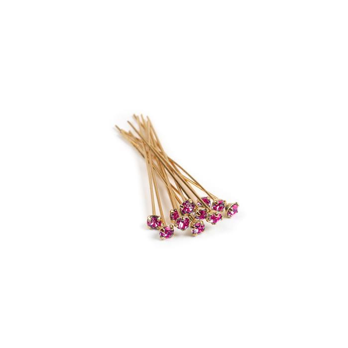 Swarovski Headpin 17704 Fuchsia with Gold Plating, PP24, 0.05x3.81cm, 12pk