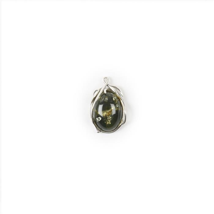 Baltic Green Amber Sterling Silver Oval Pendant with Sterling Silver Leaf Detail, Approx 22x14mm