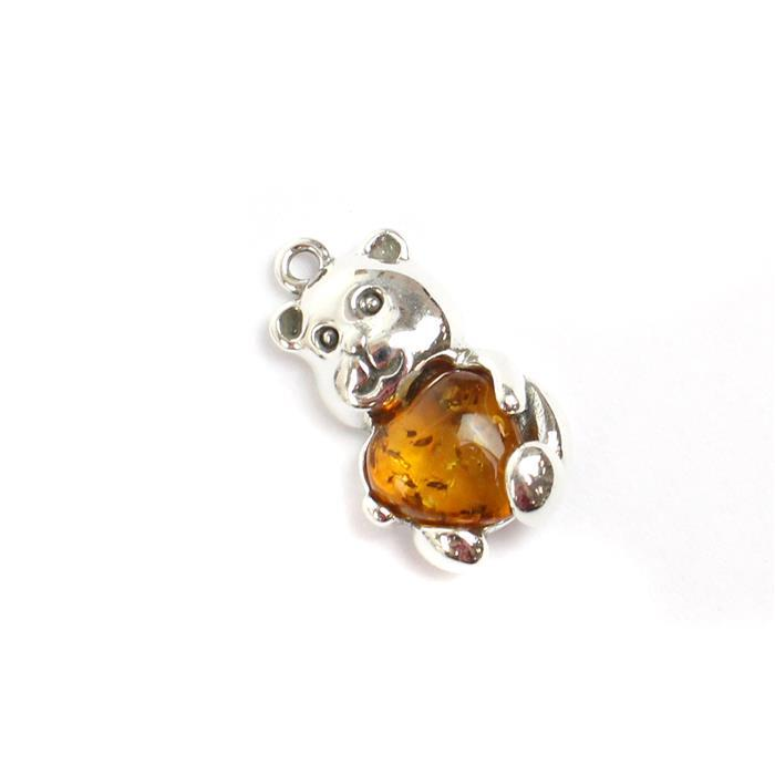 Baltic Cognac Amber Sterling Silver Teddy Bear Pendant Approx 21x12mm