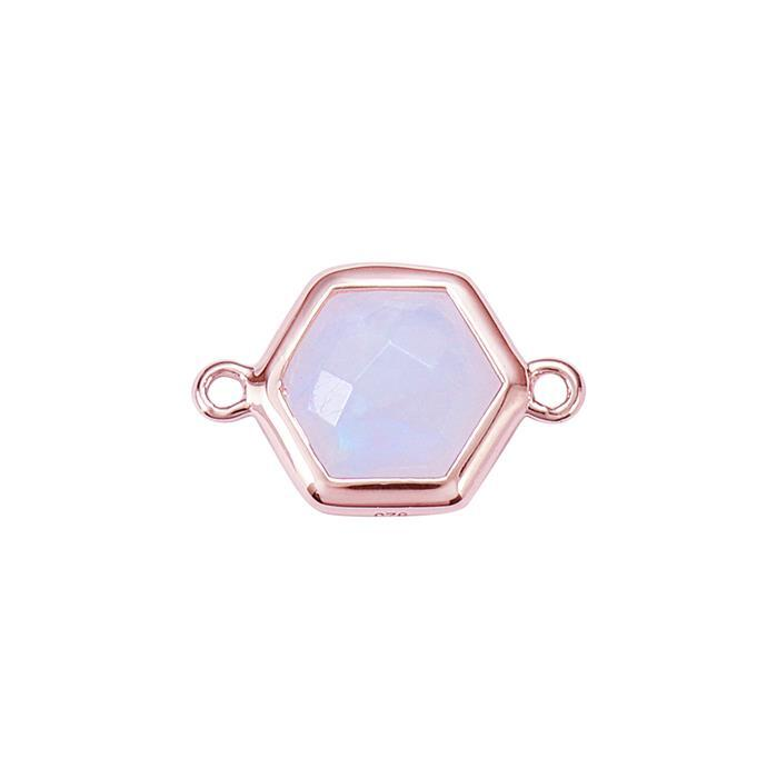 Rose Gold Plated 925 Sterling Silver Bezel Connector Approx 16x10mm Inc. 2.10cts Rainbow Moonstone Briolette Cut Hexagon Approx 8mm.