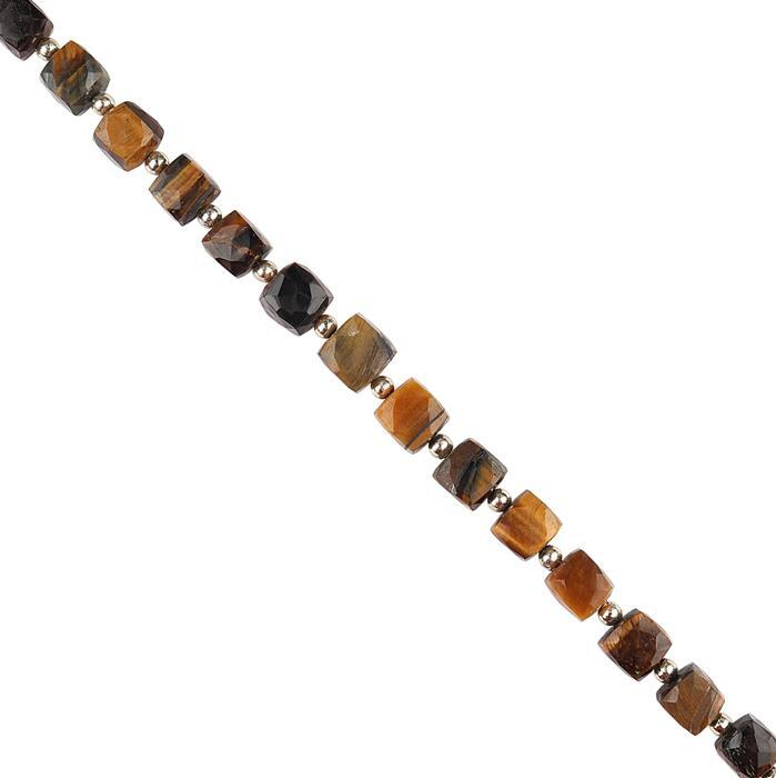 116cts Tiger Eye Graduated Faceted Cubes Approx 7 to 9mm, 18cm Strand.