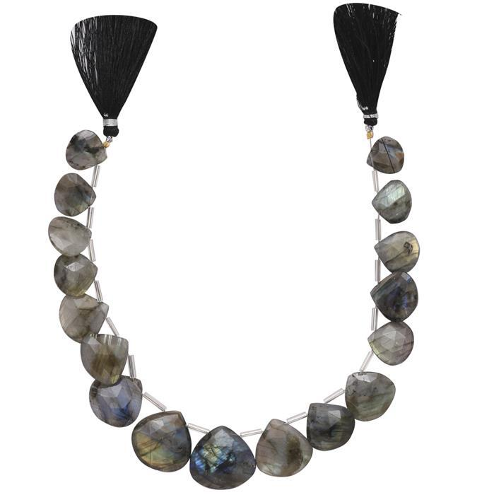 250cts Labradorite Graduated Faceted Elongated Drops Approx 13 to 23mm, 26cm Strand.