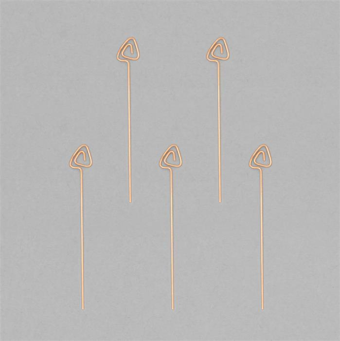 Rose Gold Plated 925 Sterling Silver Arrow Headpins Approx 49x7mm (5pcs)