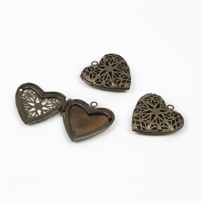 Oxidised Antique Bronze Plated Heart Lockets - 26x25mm (3pcs/pk)