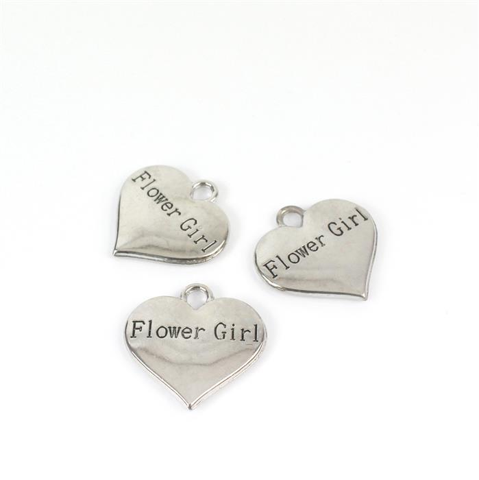 Silver Colour Heart Charms Engraved With Flower Girl Approx 3cm 3pk
