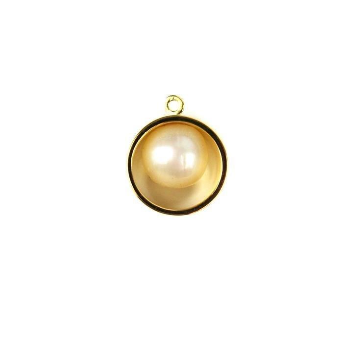 Gold Plated Sterling Silver Hoop Pendant with  Freshwater Cultured Pearl Approx 12X14mm 1pc