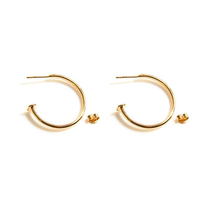 Gold Plated 925 Sterling Silver Earring Hoop Approx25mm, 1pcs