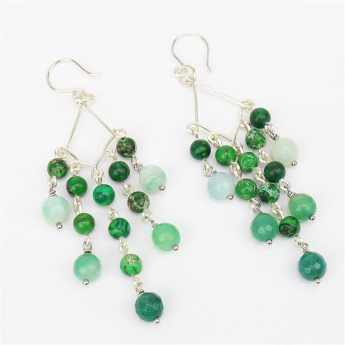 Pinned! 2 packs of 100 silver colour headpins,Green Agate 8mm & Variscite 6mm rounds,wires