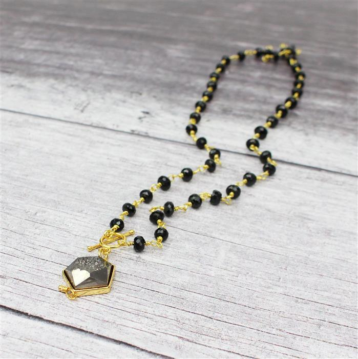 After Dark INC Gunblack Agate, Turquoise Honeycomb, Black Roundelles & Gold Findings
