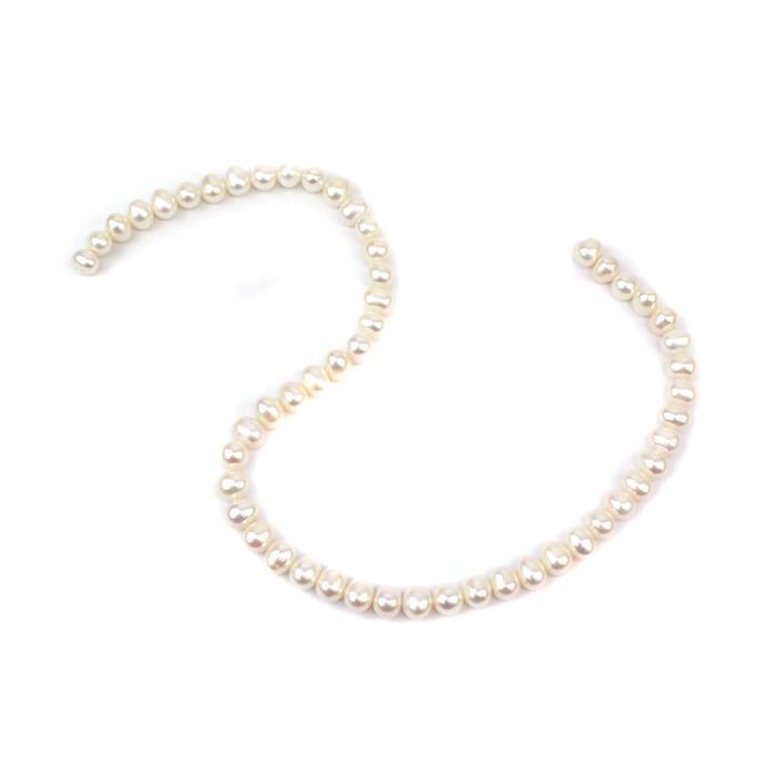 White Freshwater Cultured Pearl Potato Beads Approx 7x9mm, Approx  38cm Strand