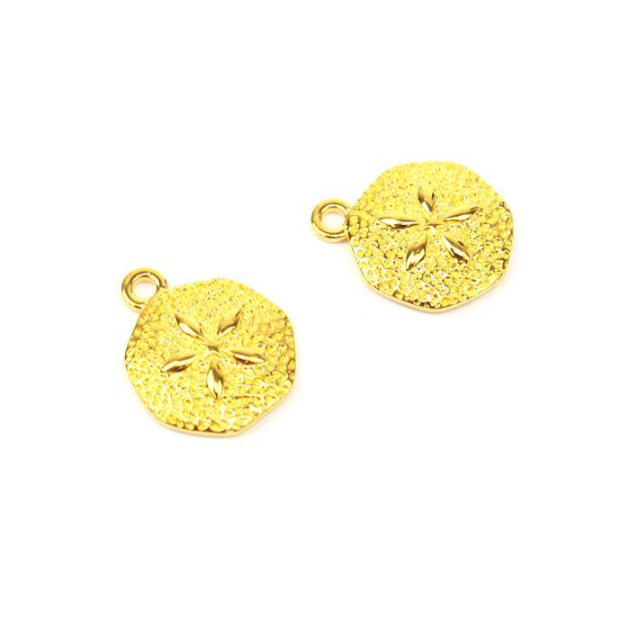 Gold Plated 925 Sterling Silver Sand Dollar Charms Approx 16x13mm 2pk