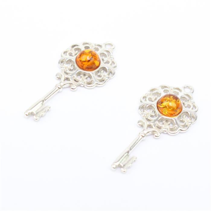 Key To My Heart! Inc; 2 x Baltic Cognac Amber Key Sterling Silver Pendant Approx 27x12mm