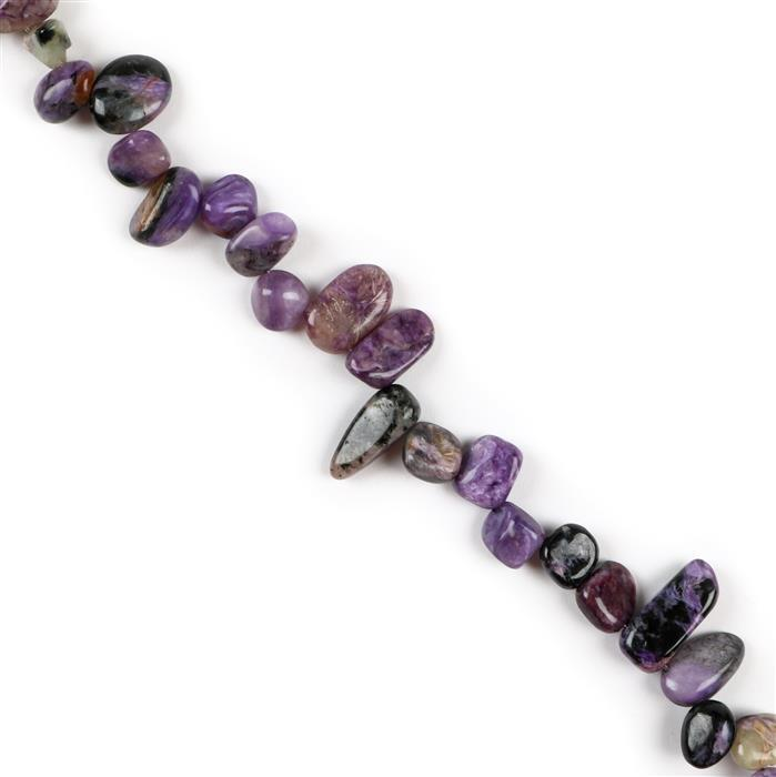 210cts Charoite Medium Polished Nuggets Approx 8x7 to 19x8mm, Approx 38cm Strand