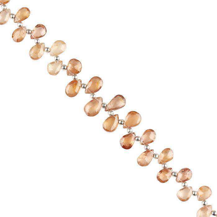 40cts Cognac Zircon Graduated Faceted Pears Approx 6x3 to 9x6mm, 16cm Strand.