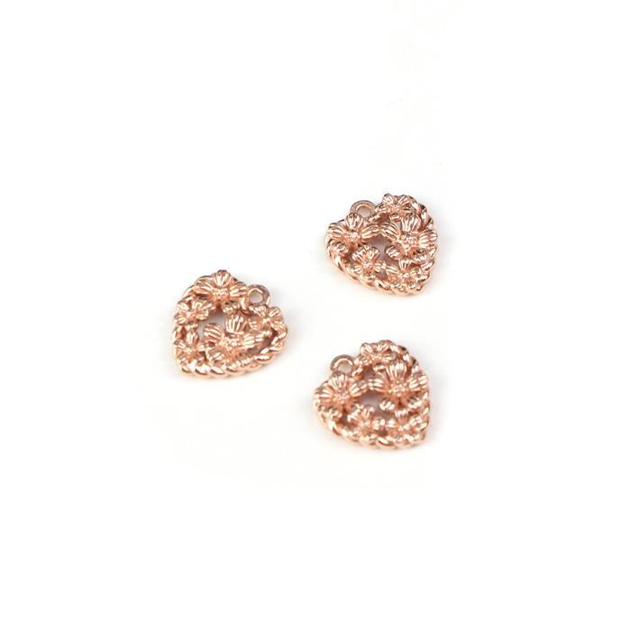 Rose Gold Plated 925 Sterling Silver Spring Heart Charms Approx 10mm 3pk