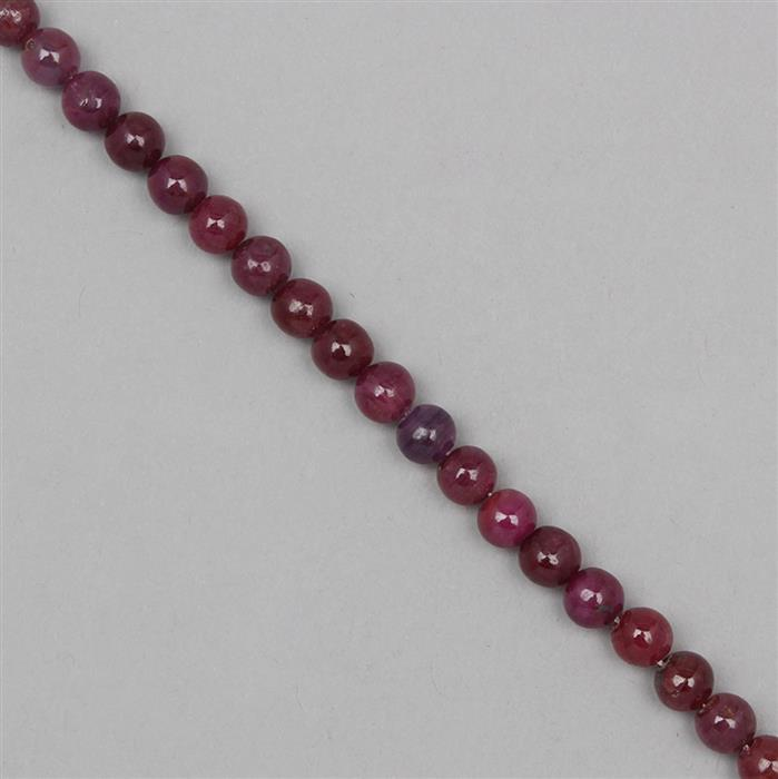 80cts Ruby Rounds Approx 6mm, 18cm Strand.