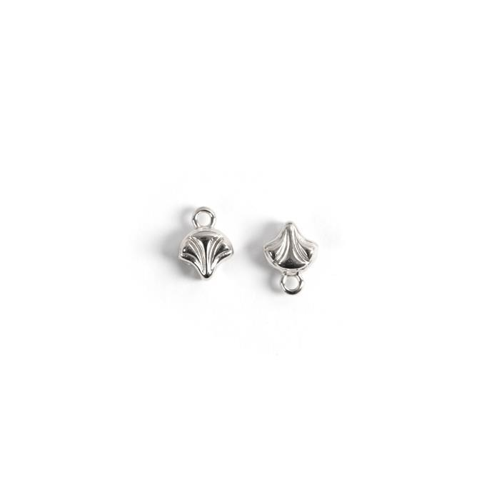 Cymbal Karavos - Ginko Bead Ending - Antique Silver Plated - Approx 10x7mm (2pk)