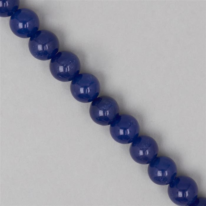 260cts Blue Colour Dyed Quartz Plain Rounds Approx 10mm, 35cm Strand.