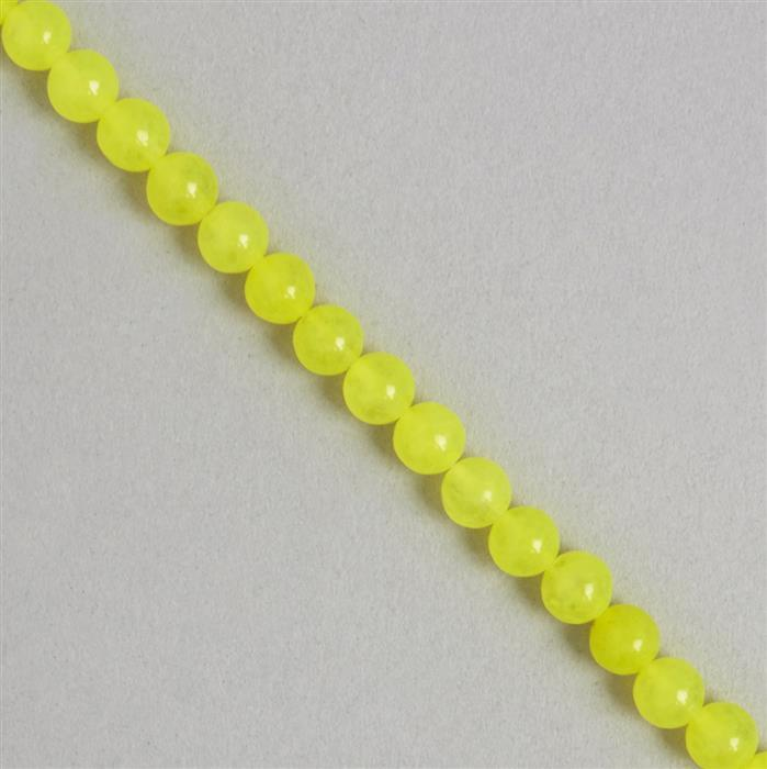 85cts Neon Yellow Colour Dyed Quartz Plain Rounds Approx 5mm, 36cm Strand.