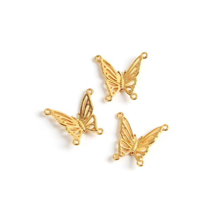 Gold Plated 925 Sterling Silver Filigree Butterfly Connectors Approx 16x17mm 3pc