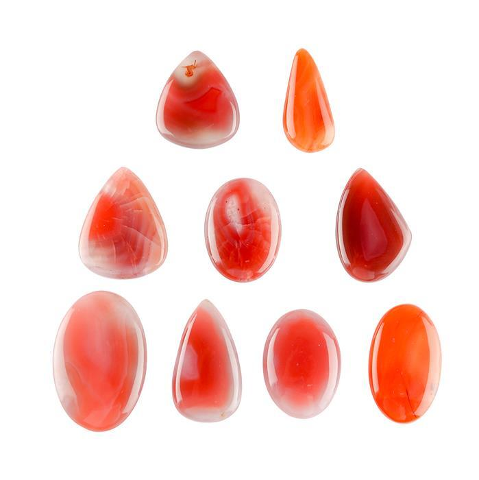 242cts Natural Red Botswana Agate Multi Shape Cabochons Assortment.
