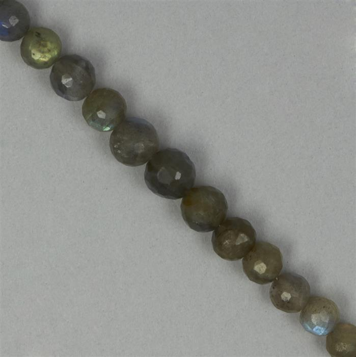 92cts Labradorite Graduated Faceted Rounds Approx 5 to 8mm, 22cm Strand.