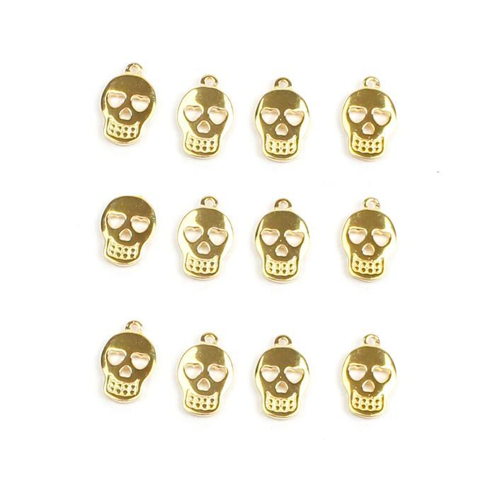 Triple Trouble 3x Gold Plated 925 Sterling Silver Sugar Skull Charms Approx 11x7mm 4pk