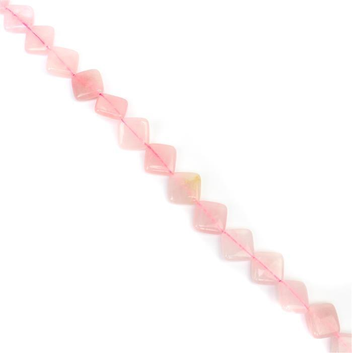 200cts Rose quartz corner-drilled twist Square Approx 14mm, 38cm